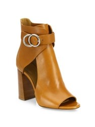 Chloe Millie Cutout Leather Block Heel Booties Tan