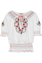 Muzungu Sisters Dora Embroidered Cotton Poplin Blouse White
