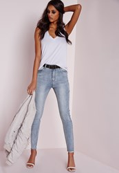 Missguided High Waisted Ripped Skinny Jeans Washed Blue Blue