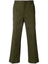 Msgm Cropped Trousers Green
