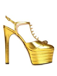 Gucci Angel Metallic Leather Platform Sandals Gold
