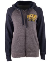 5Th And Ocean Women's Indiana Pacers Audible Hooded Sweatshirt Gray Navy
