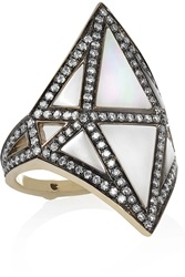 Noor Fares Nellum 18 Karat Gray Gold Diamond And Mother Of Pearl Ring