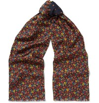 Paul Smith Double Faced Printed Silk And Wool Blend Scarf Navy