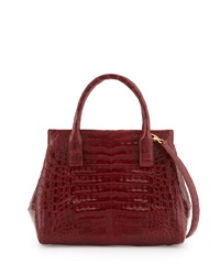 Loop Crocodile Small Satchel Bag Red Shiny Nancy Gonzalez