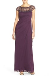 Xscape Evenings Petite Women's Xscape Embellished Illusion Ruched Jersey Gown Plum Antique
