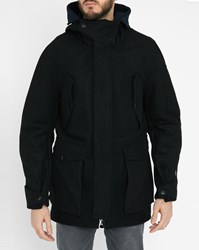 G Star Black Expedic Wool Long Hooded Parka
