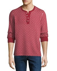 Ovadia And Sons Zack Checkerboard Henley Shirt Red White