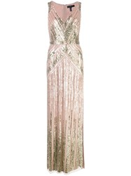 Aidan Mattox Sequin Embroidered Gown Pink