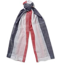 Thom Browne Striped Cotton Gauze Scarf White