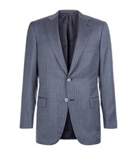 Brioni Wool Silk Houndstooth Jacket Male Blue