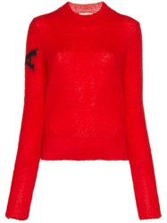 Alyx Long Sleeve Fitted Mohair And Wool Sweater Red