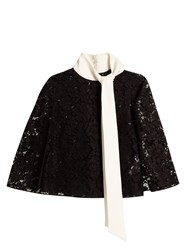 Valentino Tie Neck Sheer Lace Top Black White
