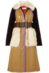 Marni Paneled Leather And Shearling Coat Brown