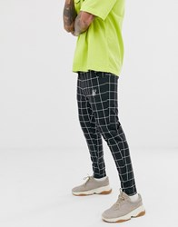 Sik Silk Siksilk Slim Cropped Trousers In Black Windowpane Check