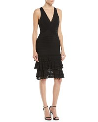 Herve Leger V Neck Sleeveless Bandage Knit Body Con Cocktail Dress W Lace Black