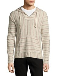 Lucky Brand Multi Striped Pullover Hoodie Beige