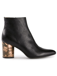 Premiata Tarnished Metallic Heel Ankle Boots Black