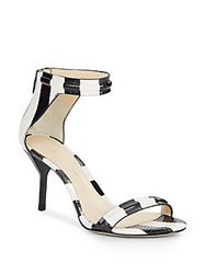 3.1 Phillip Lim Martini Striped Textured Leather Sandals Black White