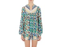 Warm Women's Floral Cotton Voile Tunic White Green Blue No Color