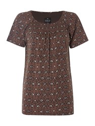 Tigi Short Sleeve Diamond Print Top Brown