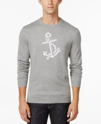 Club Room Anchor Crew Neck Sweater Only At Macy's Light Grey Heather