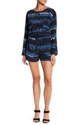 Charlie Jade Long Sleeve Silk Romper Blue