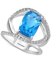 Effy Collection Effy Blue Topaz 5 2 3 Ct. T.W. And Diamond 1 5 Ct. T.W. Ring In 14K White Gold