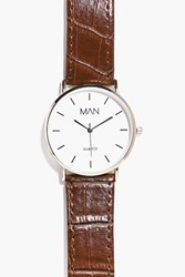 Boohoo Watch With Faux Snakeskin Strap Brown