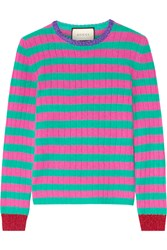 Gucci Metallic Trimmed Striped Cashmere And Wool Blend Sweater Pink