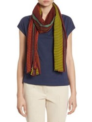 Max Mara Batune Striped Cotton Scarf Mustard