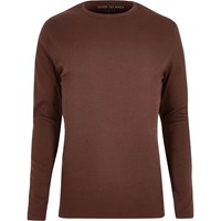 River Island Mens Chocolate Brown Ribbed Long Sleeve T Shirt