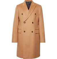 Paul Smith Double Breasted Wool And Cashmere Blend Coat Camel