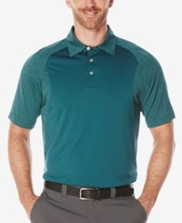 Pga Tour Men's Heathered Colorblocked Polo Deep Sea Green