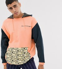 Heart And Dagger Cut Sew Hoodie With Branded Pocket Orange