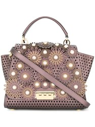 Zac Posen Eartha Floral Applique Tote Pink And Purple