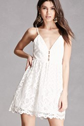 Forever 21 Backless Crochet Cami Dress White