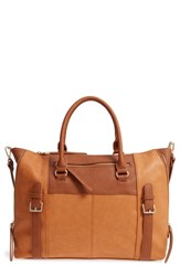 Sole Society Buckle Faux Leather Tote Brown Camel Combo