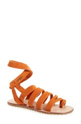 Women's Musse And Cloud 'Intense' Flat Sandal Orange Suede Leather
