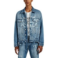Vetements Anarchy Distressed Denim Jacket Blue