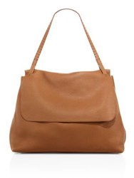 The Row Leather Top Handle 14 Satchel Saddle