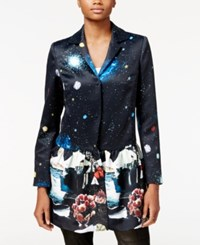 Rachel Roy Printed Ruffle Jacket Only At Macy's Black Combo