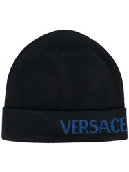 Versace Side Logo Beanie Blue