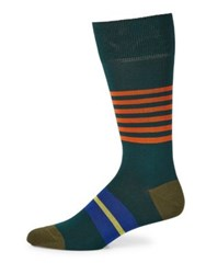 Paul Smith Striped Knitted Socks Green Black