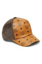 Mcm Women's Visetos Logo Baseball Cap Brown Cognac