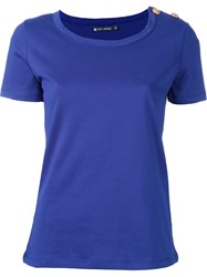 Petit Bateau Shoulder Button T Shirt Blue
