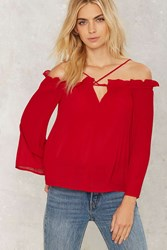 Overheated Off The Shoulder Top Red