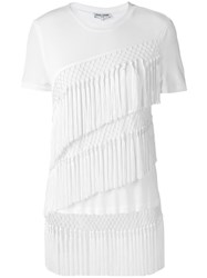 Opening Ceremony Fringes T Shirt Women Viscose M White