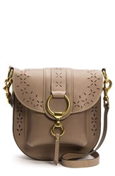 Frye Ilana Harness Perforated Leather Saddle Bag Grey Cement