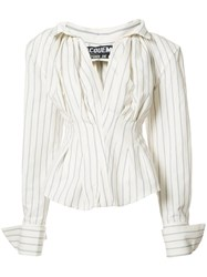 Jacquemus Oversized Striped Shirt White